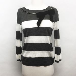 loft | striped sweater bow jewel embellished sz MP